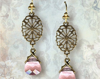 Crystal Rose Filigree Earrings - Vintage Paris Fashion - Salon De Paris
