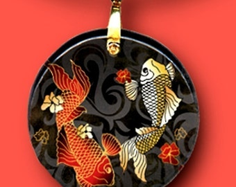 Koi Necklace -Reversible Glass Art - GeoForms Collection -  Oh, too Koi
