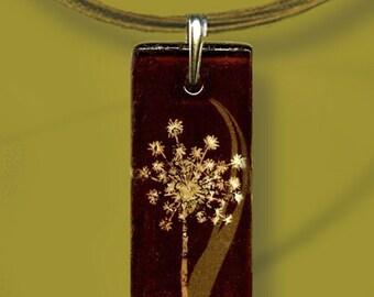 Dandelion Necklace -  Reversible Glass Art - Geoform  Brown/Sage Floral