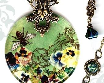 Queen Bee Necklace - Reversible Glass Art Bee Necklace - Voyageur - Green, yellow and Brown -  Victorian Garden Collection - Queen Bee