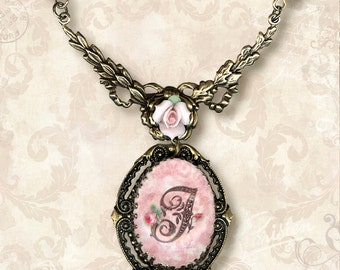 CUSTOM Initial Necklace- Vintage Paris Fashion - Rococo a la Rose Letter Frame