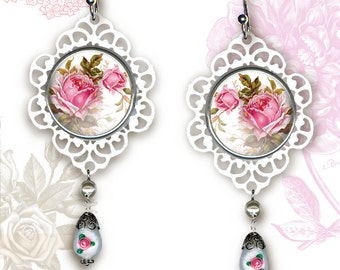 Cottage Chic  Rose Earrings - Botanicalz - Cottage Chic Romantic Collection -  Soft Pink Rose