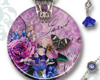 Lavender Paris Necklace - Handmade Reversible Glass Tile Art - Voyageur Collection - To Paris with Love