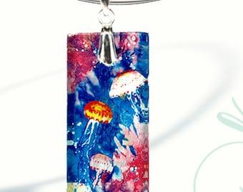 AquaForms-Reversible Glass Art Necklaces- Sea Jellies Bloom