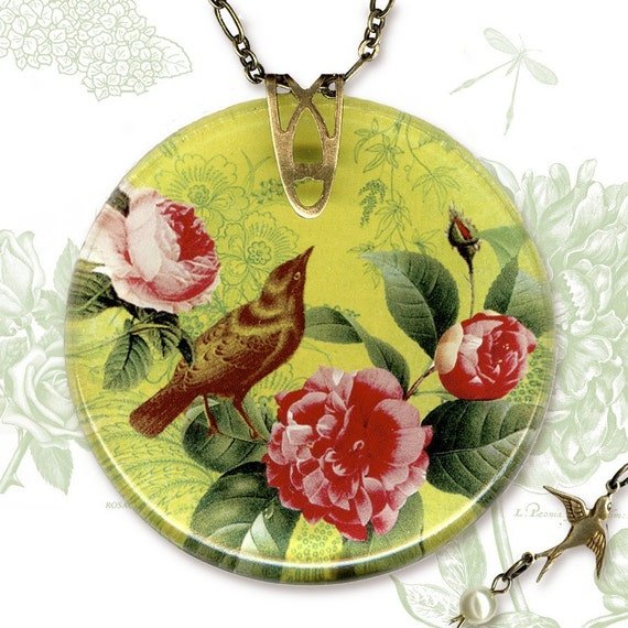 Botanicalz - Reversible Glass Art  Necklace-Garden Party