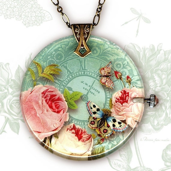 Roses, Butterflies and Time Necklace - Reversible Glass Art  - BOTANICALZ Collection  - Time to Smell the Roses Too