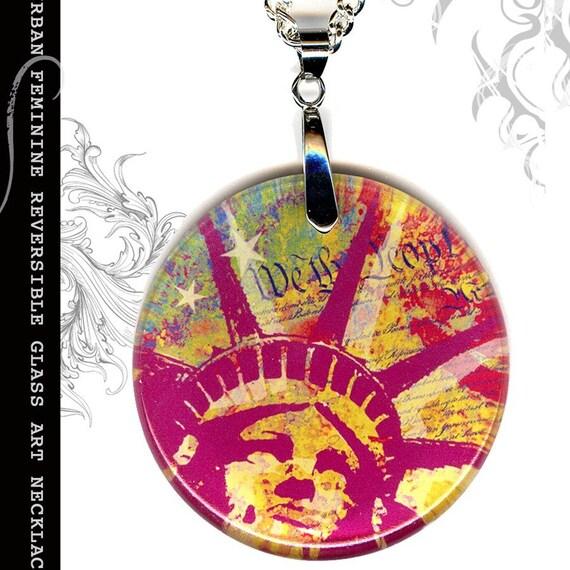 Statue of Liberty Necklace -- Reversible Glass Art - S.T.R.E.E.T.Z Graffiti Collection - Lady Liberty