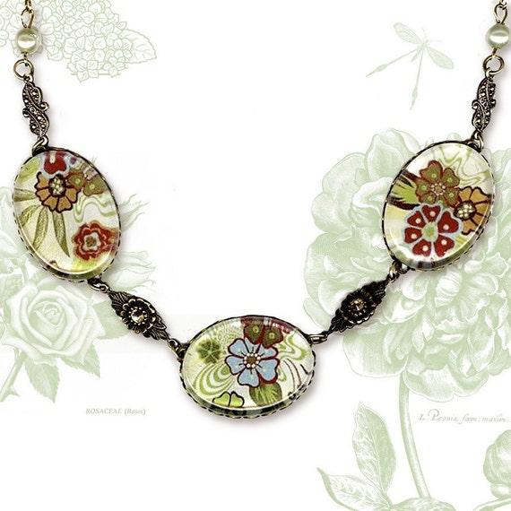 Boho Chic Necklace  - Glass Cabochon - Botanicalz Collection - Bohemian Rhapsody