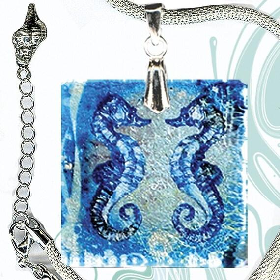 AquaForms Seahorse Necklace - SHIMMERZ - Reversible Glass Art  - I Sea You