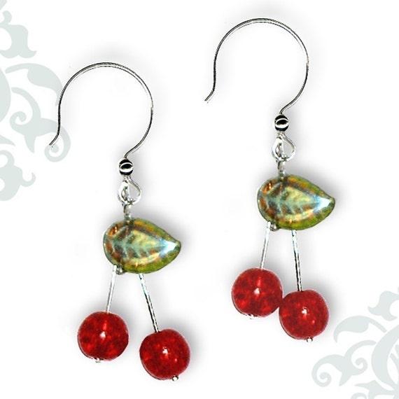 Red Cherry Drop Earrings - Geoforms- So Very Cherry Earrings