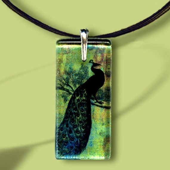 Peacock Necklace - Glass-Reversible Art -  GeoForms Collection