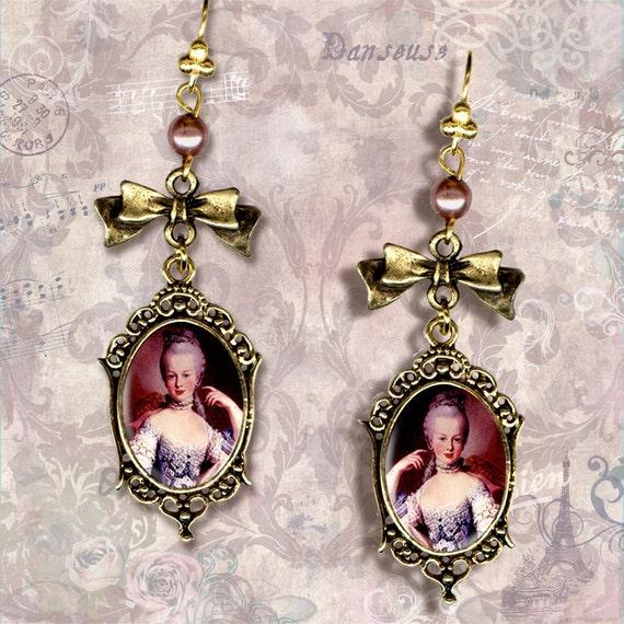 Plum Queen Marie Antoinette Petite Earrings - Vintage Paris Fashion - Romantic Cottage Chic Petite Collection - The Aubergine Queen