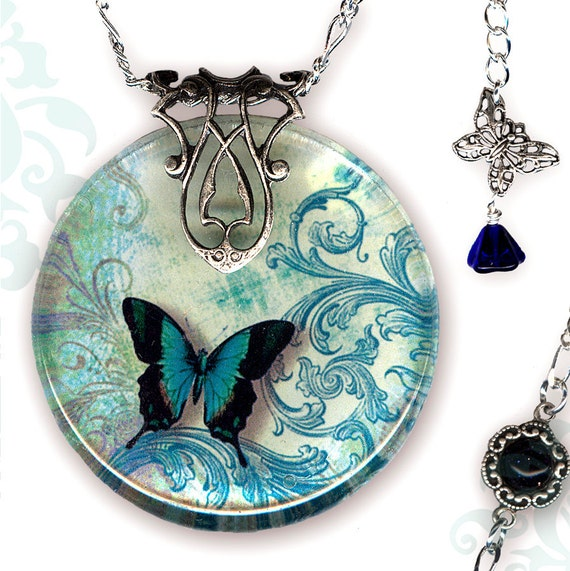 Petite Teal Butterfly Necklace - Reversible Glass Art - Voyageur Petites - The Alhambra Collection - Teal Flight of the Butterfly