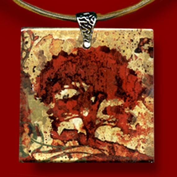 Red Tree Necklace - GeoForms-Reversible Glass Art