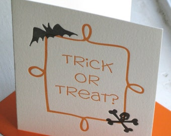 Trick or Treat Halloween Card (Letterpress)