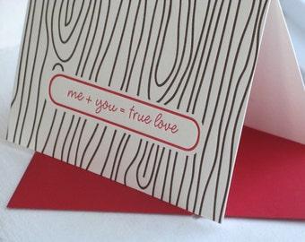 Wood Grain Valentine Wedding Anniversary Letterpress Card