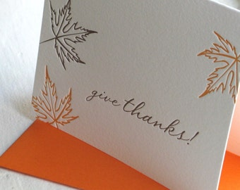 Give Thanks Card, Thanksgiving Card, Holiday Card, Seasonal Card, Letterpress Card, Leaves Card