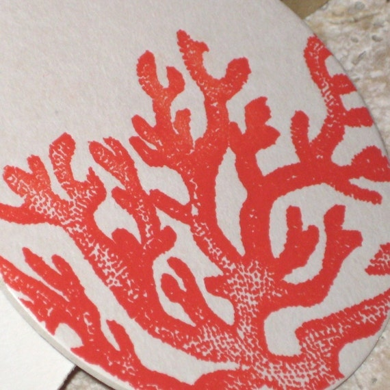 Coral Coasters (Letterpress) set of eight