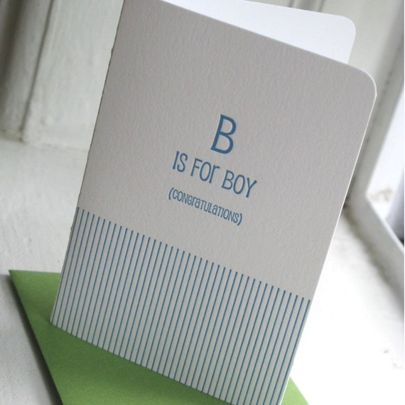 B is for Boy Sweet Baby Shower Letterpress Card