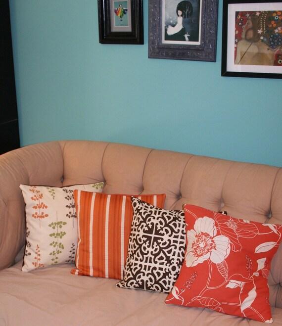 """SALE Orange and Cream Striped Pillow Cover 18X18"""""""
