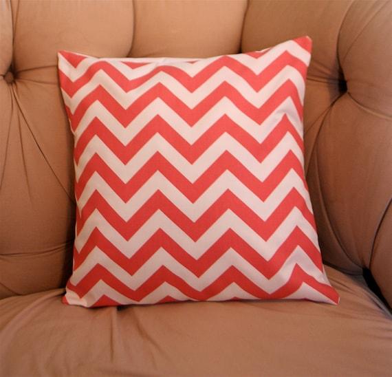 Coral Chevron Pillow Cover