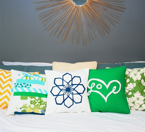 Love Pillow Cover in Green (custom group for Ashley)