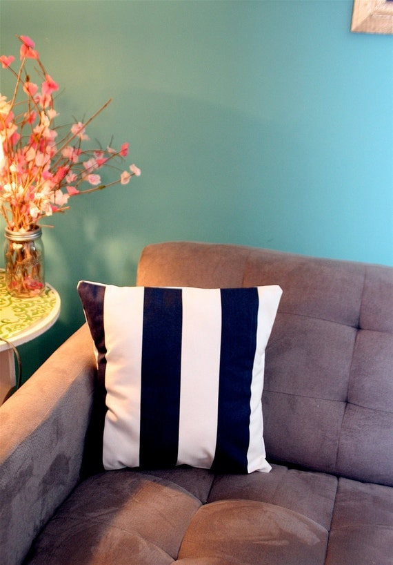 Navy Stripe Pillow Cover