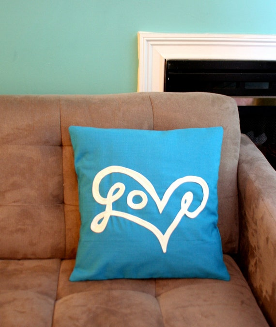 Love Pillow Cover in Turquoise