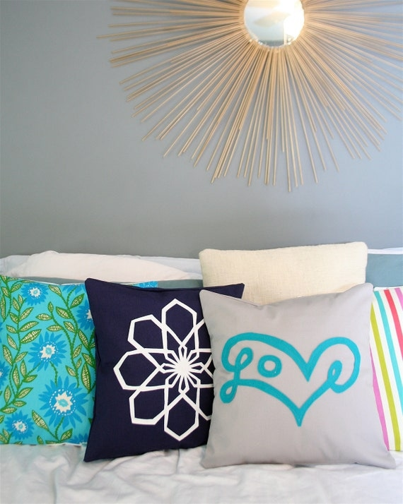 Love Pillow Cover in Turquoise on Grey