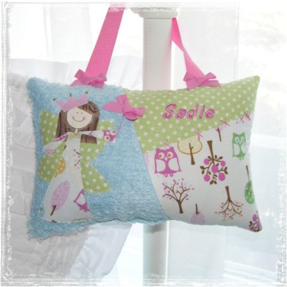 Girls Tooth Fairy Pillow in Brooke Owls  Personalized with name and choice of hand painted fairy princess