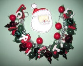 Christmas Jewelry Charm Bracelet Vintage Style Ornaments Beads & Trinkets OOAK Unique Original Statement Piece Jewelry Loaded