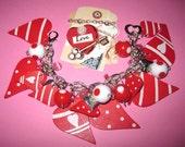 Valentine's Day Charm Bracelet Valentine Bracelet Vintage Style Jewelry Love Hearts Red White Charms Beads Chunky OOAK Statement Piece
