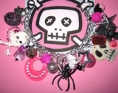 Punk Rock Charm Bracelet Rockabilly Gothic Girly Glam Beads Lolita OOAK Eclectic Statement Jewelry Piece Skulls Stars Spider Bat