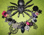 Spider Web Charm Bracelet Halloween Jewelry Beads Charms Trinkets OOAK Vintage & New Eclectic Statement Piece Psychobilly Goth Punk
