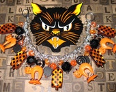 Halloween Cat Charm Bracelet Jewelry OOAK Eclectic Vintage Prim Folk Art Style Retro Kitsch Orange Black Statement Piece