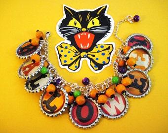 Halloween Charm Bracelet Altered Art OOAK Vintage Style Jewelry Orange Purple & Green Beads Holiday Fun