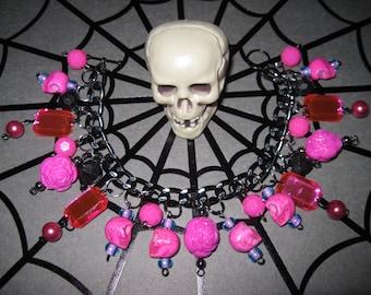 Skulls & Roses Jewelry Charm Bracelet Punk Rock  Rockabilly Gothic Girly Glam Dead Lolita Voodoo Princess Pink Black OOAK