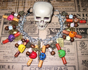 Day of The Dead Charm Bracelet Sugar Skull Jewelry Dia De Los Muertos Beads Mexican Themed Jewelry OOAK Eclectic Statement Piece