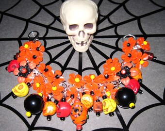 Day of The Dead Jewelry Charm Bracelet Sugar Skull Bracelet Dia De Los Muertos Bracelet Mexican Halloween Flower Beads Statement Piece