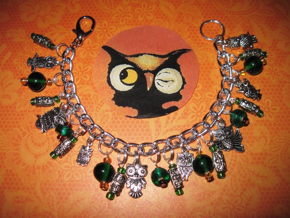 Owl Charm Bracelet Glass Beads Spooky Cute Birds Halloween Jewelry OOAK Eclectic Statement Piece