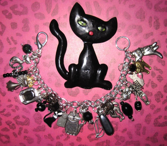 RESERVED LISTING For Sue Cat Charm Bracelet OOAK Eclectic Statement Piece Jewelry