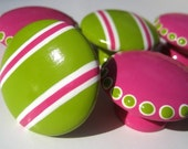 Set of 8 Hot Pink Spotted and Lime Green Striped Hand Painted Knobs, Spots and Stripes