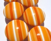 Orange and White Striped Hand Painted Knobs Set of 6
