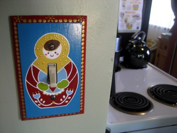 Hand Painted Matryoshka Light Switch Plate Cover