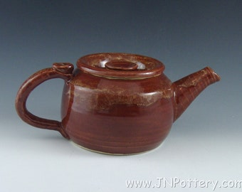 LAST CHANCE - Ceramic Teapot - Stoneware Brew and Serving Pot - Tea Lovers Gift - Ready to Ship - Fire Brick Red with Caramel Accents   s092