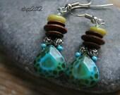 tortoise and wood earrings