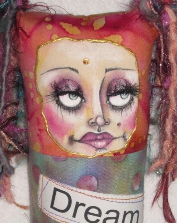 Fabric collaged art doll, keepsake