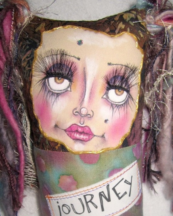 Fabric collaged art doll, keepsake