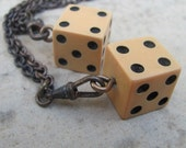 2x pcs Wholesale lot resale bulk Vintage Gamble  die DICE chain long ox Necklace found object N25
