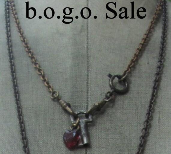 2 pc. Bogo SALE free necklace antique skeleton key  Vintage red glass heart charm necklace Gothic Noir Steam Punk unisex
